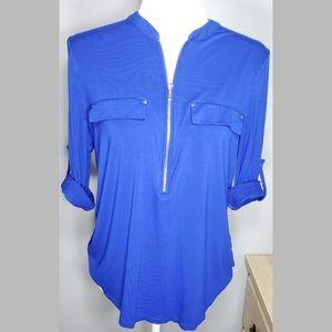 Calvin Klein Half Zip Pullover Blouse 3/4 Sleeve